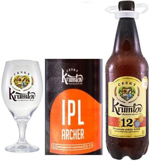 Světlý ležák Krumlov 12 , speciál Krumlov 15 IPL Archer a sklenička ČK 0,3l v dárkové krabici.